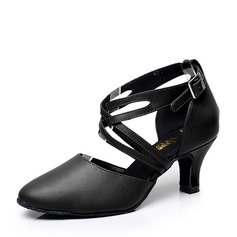 Women's Real Leather Heels Sandals Ballroom With Hollow-out Dance Shoes