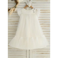Knee-length Flower Girl Dress - Satin Tulle Sleeveless Scoop Neck With Ruffles (269237376)