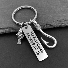 Groom Gifts - Personalized Modern Stainless Steel Keychain