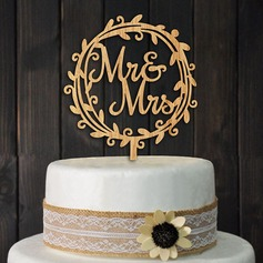 Mr & Mrs Legno Decorazioni per torte (Set di 2)