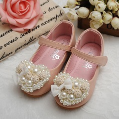 Girl's Round Toe Closed Toe Mary Jane Real Leather Flat Heel Flats Flower Girl Shoes With Imitation Pearl Flower