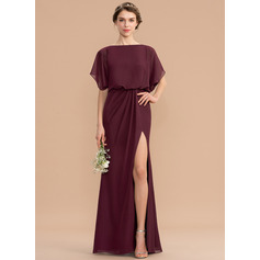 Sheath/Column Scoop Neck Floor-Length Chiffon Bridesmaid Dress (266213542)