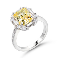 Halo Citrine Yellow 925 Silver Engagement Rings (303255824)