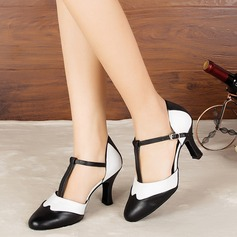 Women's Leatherette Heels Sandals Pumps Ballroom With T-Strap Dance Shoes