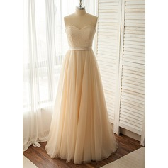 A-Line/Princess Sweetheart Floor-Length Tulle Lace Wedding Dress With Bow(s)