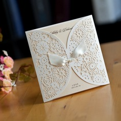 Personalized Card Paper Invitation Cards With Ribbons