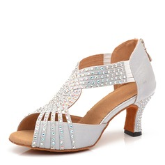 Women's Satin Heels Latin With Rhinestone Dance Shoes (053205408)