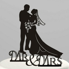 Figurine Mr. & Mrs. Acrylic Wedding Cake Topper/Bridal Shower Cake Topper (119063247)