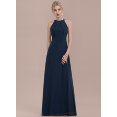 A-Line/Princess Scoop Neck Floor-Length Chiffon Bridesmaid Dress With Ruffle (007126519)
