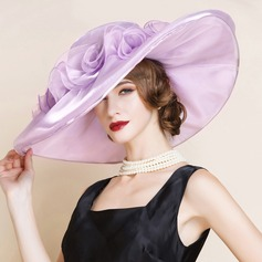 Ladies' Classic Organza With Silk Flower Floppy Hat