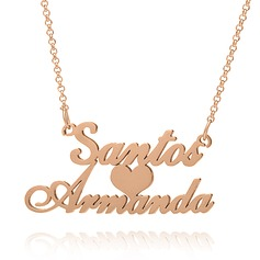 Custom 18k Rose Gold Plated Silver Two Name Necklace With Heart - Birthday Gifts Mother's Day Gifts