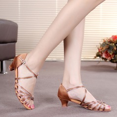 Kids' Satin Leatherette Heels Sandals Latin With Ankle Strap Dance Shoes