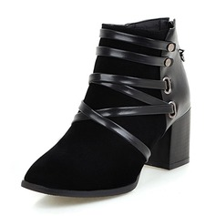 Women's Real Leather Chunky Heel Boots Ankle Boots With Zipper shoes