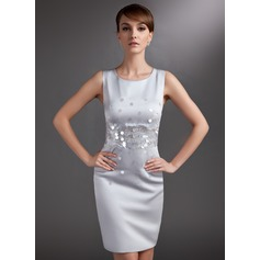 Sheath/Column Scoop Neck Knee-Length Satin Mother of the Bride Dress With Sequins (267196202)