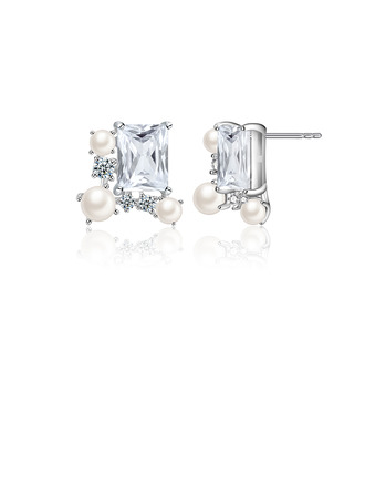 Ladies' Sparking 925 Sterling Silver/Cubic Zirconia With Baguette Cubic Zirconia Earrings For Her