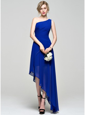A-Line/Princess One-Shoulder Asymmetrical Chiffon Bridesmaid Dress With Ruffle