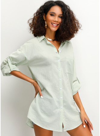 3/4 Sleeves Cotton Lapel Shirt Blouses Blouses