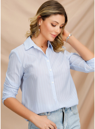 Long Sleeves Polyester V Neck ()