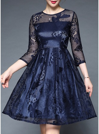 Polyester/Lace With Lace Above Knee Dress