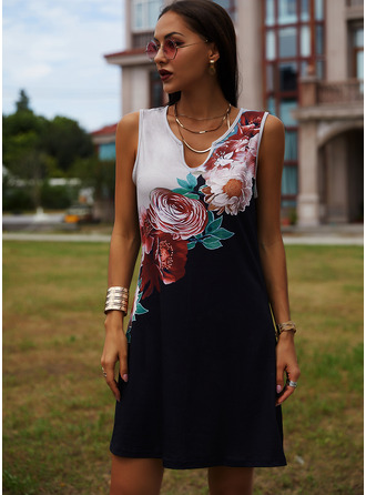 Floral Print Sheath V-Neck Sleeveless Midi Casual Vacation Tank Dresses