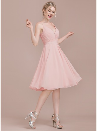 V-neck Knee-Length Chiffon Bridesmaid Dress With Ruffle