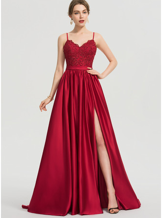 V-neck Sweep Train Satin Prom Dresses With Beading Sequins Split Front