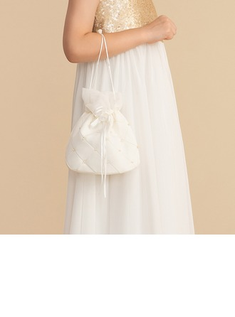 Satin With Pearl Handbag/Flower Basket