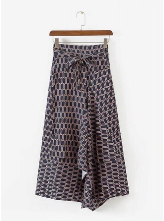 A-Line Skirts Maxi Print Cotton Blends Skirts
