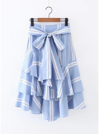 A-Line Skirts Mid-Calf Striped Polyester Skirts