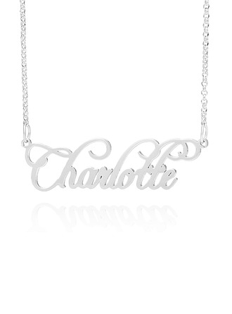 Custom Sterling Silver Old English Cursive Name Necklace