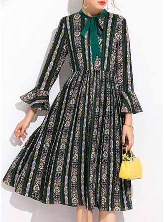 Polyester With Bowknot/Print Knee Length Dress