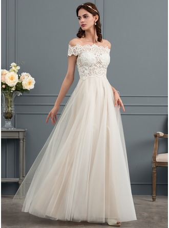 Off-the-Shoulder Floor-Length Tulle Wedding Dress