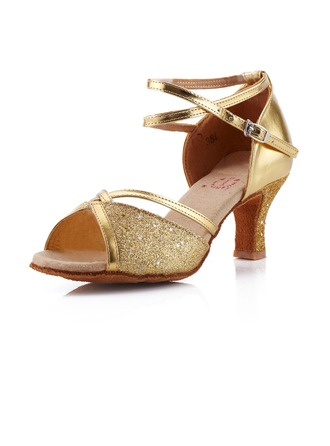 Women's Leatherette Sparkling Glitter Heels Sandals Latin Ballroom With Ankle Strap Dance Shoes
