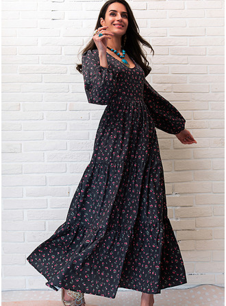Print A-line V-Neck Long Sleeves Maxi Casual Skater Dresses