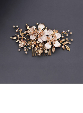 Ladies Beautiful Rhinestone/Alloy/Imitation Pearls Combs & Barrettes With Venetian Pearl (Sold in single piece)