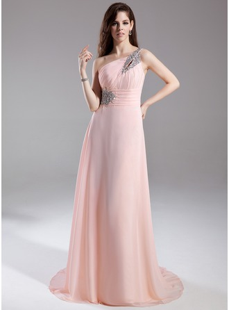 A-Line/Princess One-Shoulder Court Train Prom Dress With Ruffle Beading