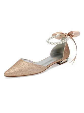 Women's Sparkling Glitter Flat Heel Flats Sandals With Imitation Pearl Rhinestone Sequin Sparkling Glitter Pearl