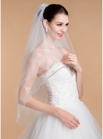 Two-tier Sequin Trim Edge Elbow Bridal Veils With Beading/Sequin