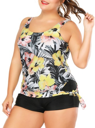 Floral Strap Tankini Swimsuit