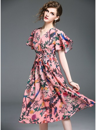Polyester With Ruffles Midi Dress