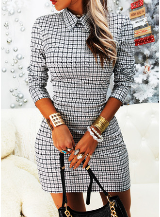 Plaid Bodycon Kraag Lange Mouwen Medium Elegant ()