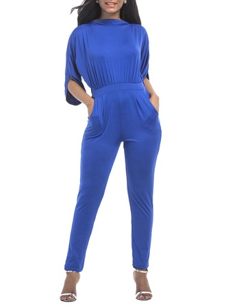 Polyester With Stitching Maxi Jumpsuits