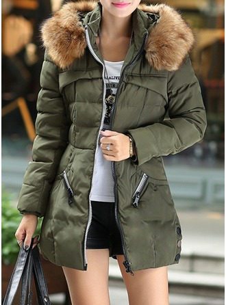 Polyester Long Sleeves Patchwork Down Coats ()