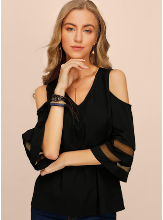 1/2 Sleeves Chiffon Cold Shoulder Bluzlar
