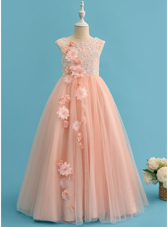 Ball-Gown/Princess Floor-length Flower Girl Dress - Tulle/Lace Sleeveless Scoop Neck With Beading/Flower(s)