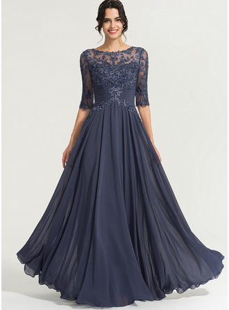 Scoop Neck Floor-Length Chiffon Prom Dresses With Sequins