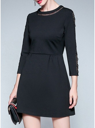Polyester With Stitching/Hollow Above Knee Dress