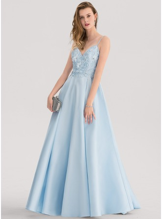 V-neck Sweep Train Satin Prom Dresses With Lace Beading