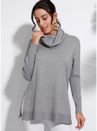 Couleur Unie Polyester Col Roulé Pull-overs Pulls