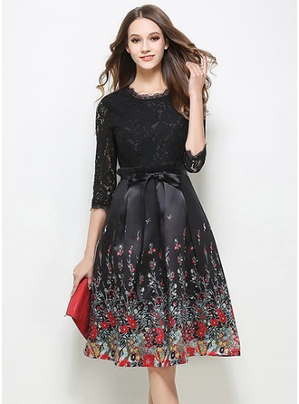 Lace With Stitching/Print Knee Length Dress